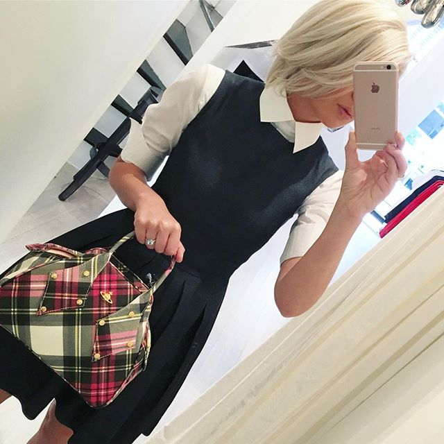 Feeling a little preppy today, fabulous tartan bag and shirt Vivienne Westwood, dress McQ Alexander McQueen ️Shop our insta- Link in our Bio #10266