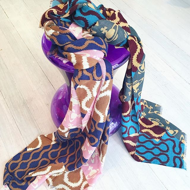 Squiggle me this Squiggle me that.... fabulous scarves in Vivienne Westwood's iconic Squiggle are in store now ️Shop our insta- Link in our Bio #10788