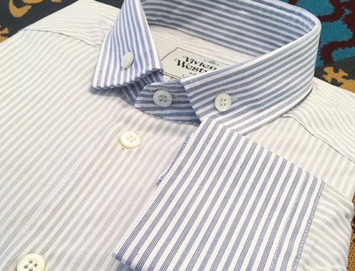 We love a bit of a contrasting collar and cuff here at Pour Tous, this lovely shirt from Vivienne Westwood MAN is in store now 🏻