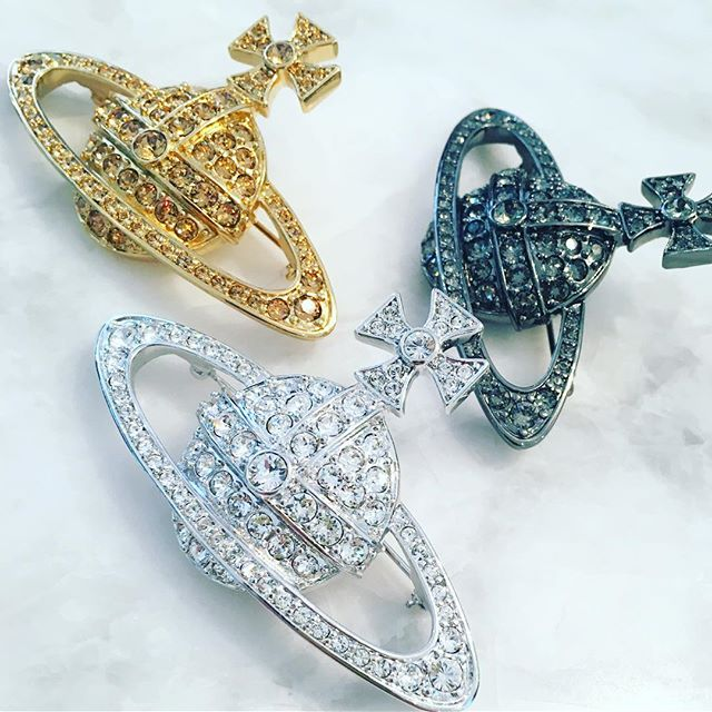 A little something sparkly for Christmas? Beautiful Swarovski encrusted Vivienne Westwood brooches are waiting for you at Pour Tous
