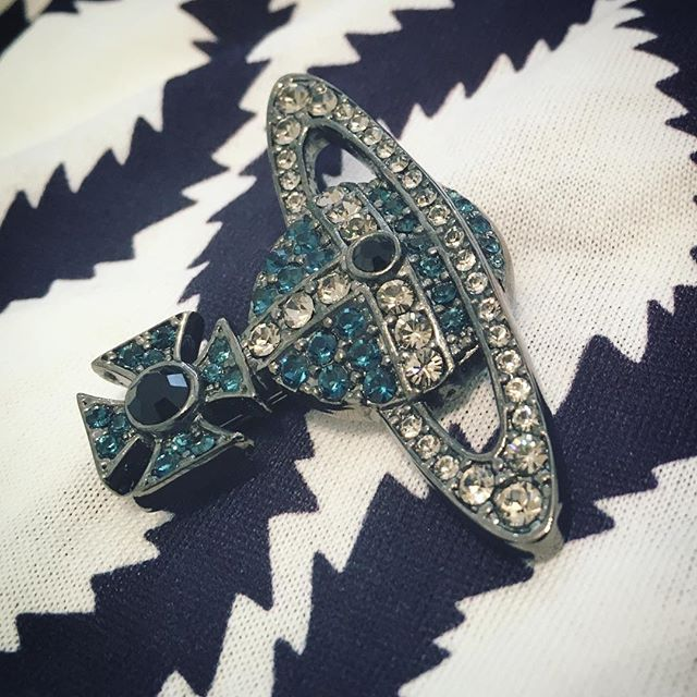 Swarovski encrusted Kika brooch by who else but Dame Viv. At Pour Tous now