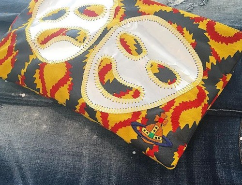 This fabulous Vivienne Westwood Ethical Fashion Initiative Squiggle zip pouch with hand appliquéd Greek masks is made with love and in store now at Pour Tous   Shop our insta- Link in our Bio #11118