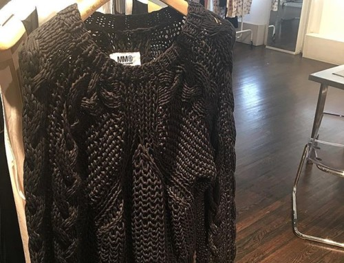 Totally obsessed with this beautiful chunky black knit at the MM6 Maison Margiela showroom 🖤🖤
