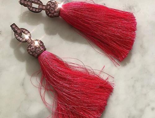 Were $440 now $220. Vivienne Westwood Electra Tassel earrings in pink  shop now link in our #11369