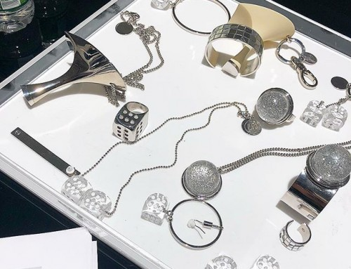 Playing with the jewellery at at MM6 Maison Margiela showroom