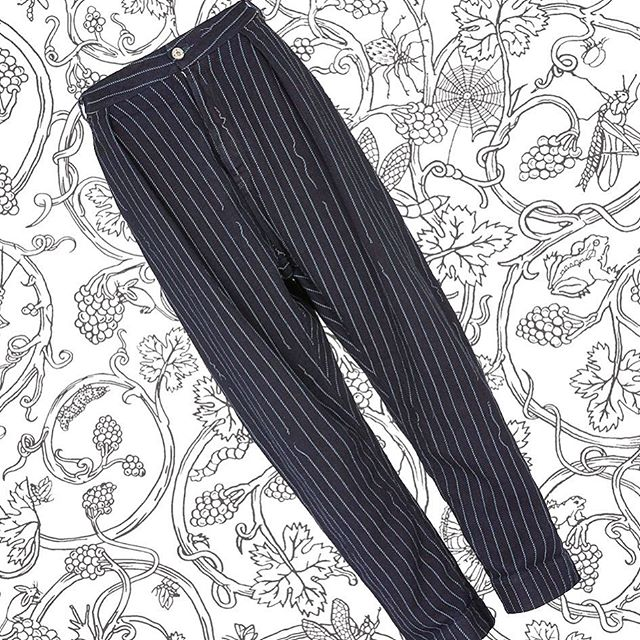 Were $690 now $345. Fab Vivienne Westwood Anglomania Dietrich Jeans in Navy Broken Stripe  shop now link in our bio #11820