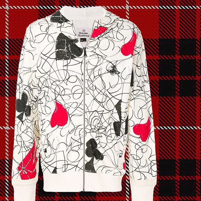 Was $690 now $345. Bio cotton linen blend Vivienne Westwood House of cards print hooded sweatshirt at Pour Tous ️ ️ shop now link in our bio #11917